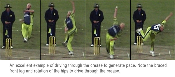 Example of a bowler driving through the crease