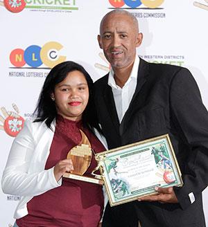 SWD Cricket - Tasneem Nomdoe receives the trophy as Scorer of the Year
