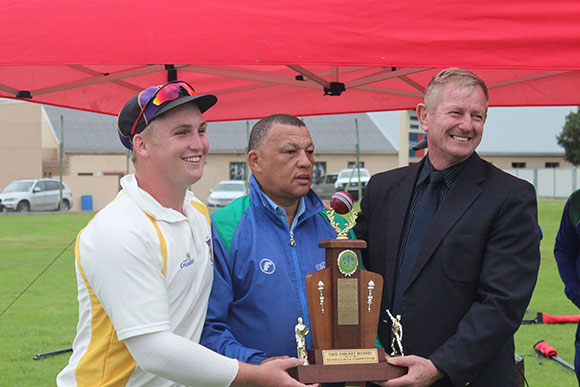 SWD Cricket - Braam van Huysteen receiving the Coca Cola SWD Schools T20 Winners trophy