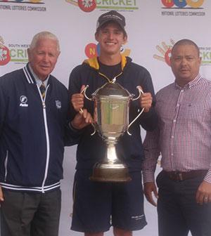 SWD Cricket - Travis Ackerman receives the Petersen Trophy