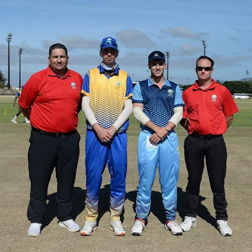 SWD Cricket - Warren Wyngaardt, Daniel Smith (captain of the Cobras), Jordan Hermann (captain of the Titans) and André Olivier