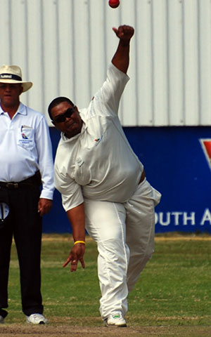 SWD Cricket – Nigel Brouwers in action, bowling